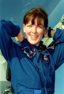 STS-99 Mission Specialist Janet Lynn Kavandi (Ph.D.) smiles on her arrival at KSC aboard a T-38 training jet aircraft to take part in a Terminal Countdown Demonstration Test (TCDT). The TCDT provides the crew with simulated countdown exercises, emergency egress training, and opportunities to inspect the mission payloads in the orbiter's payload bay. Other crew members taking part are Commander Kevin Kregel, Pilot Dominic Gorie, and Mission Specialists Janice Voss (Ph.D.), Mamoru Mohri, who is with the National Space Development Agency (NASDA) of Japan, and Gerhard Thiele, with the European Space Agency. STS-99 is the Shuttle Radar Topography Mission, which will chart a new course, using two antennae and a 200-foot-long section of space station-derived mast protruding from the payload bay to produce unrivaled 3-D images of the Earth's surface. The result of the Shuttle Radar Topography Mission could be close to 1 trillion measurements of the Earth's topography. Besides contributing to the production of better maps, these measurements could lead to improved water drainage modeling, more realistic flight simulators, better locations for cell phone towers, and enhanced navigation safety. Launch of Endeavour on the 11-day mission is scheduled for Jan. 31 at 12:47 p.m. EST