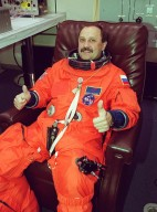 STS-102 Mission Specialist Yury Usachev has his launch and entry suit adjusted. He and other crew members are taking part in Terminal Countdown Demonstration Test activities, which include a simulated launch countdown. Usachev is also part of the Expedition Two crew who will be replacing Expedition One on the International Space Station. The Russian cosmonaut will serve as commander for the crew?s four-month residence on the Station. STS-102 is the eighth construction flight to the Space Station, with Discovery carrying the Multi-Purpose Logistics Module Leonardo. Expedition One will return to Earth with Discovery. Launch on mission STS-102 is scheduled for March 8