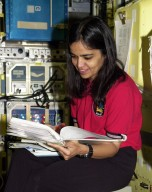 KENNEDY SPACE CENTER, FLA. -- STS-107 Mission Specialist Kalpana Chawla scans paperwork for equipment at SPACEHAB, Cape Canaveral, Fla., during crew training. STS-107 is a research mission. The primary payload is the first flight of the SHI Research Double Module (SHI/RDM). The experiments range from material sciences to life sciences (many rats). Also part of the payload is the Fast Reaction Experiments Enabling Science, Technology, Applications and Research (FREESTAR) that incorporates eight high priority secondary attached shuttle experiments: Mediterranean Israeli Dust Experiment (MEIDEX), Shuttle Ozone Limb Sounding Experiment (SOLSE-2), Student Tracked Atmospheric Research Satellite for Heuristic International Networking Experiment (STARSHINE), Critical Viscosity of Xenon-2 (CVX-2), Solar Constant Experiment-3 (SOLOCON-3), Prototype Synchrotron Radiation Detector (PSRD), Low Power Transceiver (LPT), and Collisions Into Dust Experiment -2 (COLLIDE-2). STS-107 is scheduled to launch in July 2002