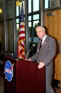 KENNEDY SPACE CENTER, Fla. - The new NASA Administrator Sean O'Keefe talks to guests at a dinner in his honor held at KSC. The administrator was at KSC on an agencywide tour of NASA field centers. He was nominated for the position as administrator in November 2001 by President George W. Bush. He was sworn in Dec. 21 as the agency's 10th chief