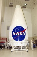 KENNEDY SPACE CENTER, Fla. - The nose fairing for the Tracking and Data Relay Satellite-I (TDRS-I) rests on a workstand in the Spacecraft Assembly and Encapsulation Facility-2 (SAEF-2) where the satellite is being prepared for launch. The second in a new series of telemetry satellites, TDRS-I replenishes the existing on-orbit fleet of six spacecraft. The TDRS System is the primary source of space-to-ground voice, data and telemetry for the Space Shuttle. It also provides communications with the International Space Station and scientific spacecraft in low-Earth orbit such as the Hubble Space Telescope. This new advanced series of satellites will extend the availability of TDRS communications services until about 2017. Launch of TDRS-I is scheduled for March 8 aboard a Lockheed Martin Atlas IIA rocket from Pad 36-A, Cape Canaveral Air Force Station