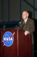 KENNEDY SPACE CENTER, FLA. -- Former astronaut James Lovell, who was commander of the Apollo 13 mission, addresses the audience at KSC's Apollo/Saturn V Center during the dinner celebration of the 40th anniversary of American spaceflight. Lovell served as host of the celebration