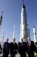 KENNEDY SPACE CENTER, FLA. -- Four space pioneers pose for a photo in the Rocket Garden at the KSC Visitor Complex. From left are Gordon Cooper, Wally Schirra, Scott Carpenter and John Glenn Jr. The occasion was the celebration of the 40th anniversary of American spaceflight. The event was held Feb. 24, 2002