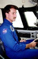 KENNEDY SPACE CENTER, FLA. - Astronaut Kent Rominger sits in the cockpit of a Shuttle Training Aircraft (STA) after flying weather reconnaissance for the landing of Endeavour, returning from mission STS-111. Low cloud cover and other unfavorable weather conditions resulted in the third day of wave off on two landing opportunities. Endeavour successfully landed at Edwards Air Force Base, Calif., completing 217 orbits and a 5.8-million-mile journey