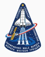 JOHNSON SPACE CENTER, HOUSTON, TEXAS - STS-111 INSIGNIA -- The STS-111 patch symbolizes the hardware, people, and partner nations that contribute to the flight. The Space Shuttle rises on the plume of the Astronaut Office symbol, carrying the Canadian Mobile Base System (MBS) for installation while docked to the International Space Station (ISS). The mission is named UF-2 for ISS Utilization Flight number two. The ISS orbit completes the Astronaut Office symbol and is colored red, white, and blue to represent the flags of the United States, Russia, France, and Costa Rica. The Earth background shows Italy, which contributes the Multi Purpose Logistics Module (MPLM) used on this flight to re-supply ISS. The ten stars in the sky represent the ten astronauts and cosmonauts on orbit during the flight, and the star at the top of the patch represents the Johnson Space Center, in the state of Texas, from which the flight is managed. The names of the STS-111 crew border the upper part of the patch, and the Expedition Five (going up) and Expedition Four (coming down) crews' names form the bottom of the patch. The NASA insignia design for Shuttle flights is reserved for use by the astronauts and for other official use as the NASA Administrator may authorize. Public availability has been approved only in the forms of illustrations by the various news media. When and if there is any change in this policy, which is not anticipated, the change will be publicly announced. The NASA insignia design for Space Shuttle flights is reserved for use by the astronauts and for other official use as the NASA Administrator may authorize. Public availability has been approved only in the form of illustrations by the various news media. When and if there is any change in this policy, which we do not anticipate, it will be publicly announced