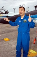 KENNEDY SPACE CENTER, FLA. - STS-114 Mission Specialist Soichi Noguchi is happy to be back at KSC after arriving aboard a T-38 jet aircraft. He and other crew members are at the Center for familiarization activities with equipment. The mission is Logistics Flight 1, scheduled to deliver the Multi-Purpose Logistics Module carrying supplies and equipment to the Space Station and the external stowage platform.