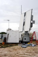 KENNEDY SPACE CENTER, FLA. - An X-band radar antenna is prepared to observe the MESSENGER (Mercury Surface, Space Environment, Geochemistry and Ranging) launch. This antenna and a C-band radar antenna are on loan to KSC from the USNS Pathfinder, a U.S. Navy instrumentation ship. They have been installed at site north of Haulover Canal where the National Center for Atmospheric Research previously had a radar for thunderstorm research. NASA is evaluating the pair of radars for their ability to observe possible debris coming from the Space Shuttle during launch, part of NASA?s initiative to return the Space Shuttle to flight.
