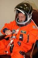 KENNEDY SPACE CENTER, FLA. - The STS-115 crew members are suiting up for their simulated launch countdown. Shown Shown here is Mission Specialist Daniel Burbank. The mission crew is at KSC for Terminal Countdown Demonstration Test (TCDT) activities that are preparation for launch on Space Shuttle Atlantis, scheduled to take place in a window that opens Aug. 27. The TCDT has included emergency egress training as well as the simulation. During their 11-day mission to the International Space Station, the STS-115 crew will continue construction of the station and attach the payload elements, the Port 3/4 truss segment with its two large solar arrays. Photo credit: NASA/Cory Huston