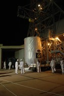 KENNEDY SPACE CENTER, FLA. -- The THEMIS spacecraft arrives on Launch Pad 17-B at Cape Canaveral Air Force Station. The spacecraft will be lifted into the mobile service tower and, after encapsulation, mated with the third stage of the Delta II rocket. THEMIS consists of five identical probes, the largest number of scientific satellites ever launched into orbit aboard a single rocket. The THEMIS mission is to investigate what causes auroras in the Earth's atmosphere to dramatically change from slowly shimmering waves of light to wildly shifting streaks of color. Discovering what causes auroras to change will provide scientists with important details on how the planet's magnetosphere works and the important Sun-Earth connection. THEMIS is scheduled to launch aboard a Delta II rocket on Feb. 15 during a window extending from 6:08 to 6:27 p.m. Photo credit: NASA/Amanda Diller