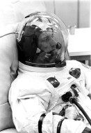 KENNEDY SPACE CENTER, FLA. -- Apollo 7 crew member Donn F. Eisele relaxes during suiting up prior to today's space vehicle emergency egress tests conducted at Cape Kennedy's Launch Complex 34.
