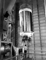 KENNEDY SPACE CENTER, FLA. -- The Centaur high-energy third stage for Titan/Centaur 3 is mated with its Titan rocket in the Vehicle Integration Building in the Titan III complex at Cape Canaveral Air Force Station. Titan/Centaur 3 and Titan/Centaur 4 will launch twin Viking spacecraft to Mars in the late summer of 1975. Launch will be by KSC's Unmanned Launch Operations Directorate from Complex 41.