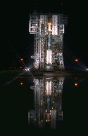 After launch tower retraction, the Boeing Delta II expendable launch vehicle carrying the Advanced Composition Explorer (ACE) undergoes final preparations for liftoff in the predawn hours of Aug. 24, 1997, at Launch Complex 17A, Cape Canaveral Air Station. This is the second Delta launch under the Boeing name and the first from Cape Canaveral. ACE with its combination of nine sensors and instruments will investigate the origin and evolution of solar phenomenon, the formation of solar corona, solar flares and acceleration of the solar wind. ACE was built for NASA by the Johns Hopkins Applied Physics Laboratory and is managed by the Explorer Project Office at NASA?s Goddard Space Flight Center. The lead scientific institution is the California Institute of Technology