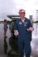 At the Skid Strip on Cape Canaveral Air Station, astronaut C. Michael Foale prepares to return to the Johnson Space Center in Houston, Texas. He spent approximately four-and-a-half months living and working aboard the Russian Space Station Mir. Foale returned to Earth Oct. 6 aboard the Space Shuttle orbiter Atlantis, which docked with the Mir during the just-completed STS-86 Shuttle mission. Foale was replaced on the Mir by STS-86 Mission Specialist David A. Wolf