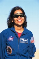 Kalpana Chawla, Ph.D., a mission specialist of the STS-87 crew, participates in a news briefing at Launch Pad 39B during the Terminal Countdown Demonstration Test (TCDT) at Kennedy Space Center (KSC). First-time Shuttle flier Dr. Chawla reported for training as an astronaut at Johnson Space Center in 1995. She has a doctorate in aerospace engineering from the University of Colorado. The TCDT is held at KSC prior to each Space Shuttle flight providing the crew of each mission opportunities to participate in simulated countdown activities. The TCDT ends with a mock launch countdown culminating in a simulated main engine cut-off. The crew also spends time undergoing emergency egress training exercises at the pad and has an opportunity to view and inspect the payloads in the orbiter's payload bay. STS-87 is scheduled for launch Nov. 19 aboard the Space Shuttle Columbia from pad 39B at KSC
