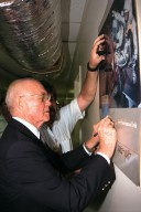 Ohio Senator John Glenn enjoys a tour of the Engineering Development Laboratory at Kennedy Space Center. Senator Glenn arrived at KSC on Jan. 20 to tour KSC operational areas and to view the launch of STS-89. Glenn, who made history in 1962 as the first American to orbit the Earth, completing three orbits in a five-hour flight aboard Friendship 7, will fly his second space mission aboard Space Shuttle Discovery this October. Glenn is retiring from the Senate at the end of this year and will be a payload specialist aboard STS-95