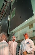 At Astrotech, in Titusville, Fla., Loral workers check trim tab deployment on the GOES-L [ http://www-pao.ksc.nasa.gov/kscpao/captions/subjects/goes-l.htm ] weather satellite. Other tests to be performed are the imaging system, instrumentation, communications and power systems. The satellite is to be launched from Cape Canaveral Air Station aboard a Lockheed Martin Atlas II rocket in late March. The GOES-L is the fourth of a new advanced series of geostationary weather satellites for the National Oceanic and Atmospheric Administration. It is a three-axis inertially stabilized spacecraft that will provide pictures and perform atmospheric sounding at the same time. Once launched, the satellite, to be designated GOES-11, will undergo checkout and provide backup capabilities for the existing, aging GOES East weather satellite