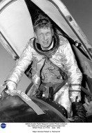 Air Force test pilot Robert A. Rushworth is shown in an X-15. He was selected for the X-15 program in 1958, and made his first flight on November 4, 1960. Over the next six years, he made 34 flights in the X-15, the most of any pilot. This included a flight to an altitude of 285,000 feet, made on June 27, 1963. This flight above 50 miles qualified Rushworth for astronaut wings. On a later X-15 flight, he was awarded a Distinguished Flying Cross for successfully landing an X-15 after its nose wheel extended while flying at nearly Mach 5. He made his final X-15 flight on July 1, 1966, then returned to regular Air Force duties. These included a tour in Vietnam as an F-4 pilot, flying 189 combat missions. He also served as the Commander of the Air Force Flight Test Center at Edwards AFB, and as the Commander of the Air Force Test and Evaluation Center at Kirtland AFB. At the time of his retirement as a major general, he was Vice Commander, Aeronautical Systems Division, Air Force Systems Command, at Wright-Patterson AFB. Rushworth flew C-47s and C-46s as a transport pilot in World War II, as well as F-80Cs, F-101s, TF-102s, F-104s, F-105s, F-106s, and F-4s. He died on March 17, 1993.
