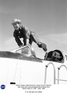 """Cowboy Joe (NACA High-Speed Flight Station test pilot Joseph Walker) and his steed (Bell Aircraft Corporation X-1A) A happy Joe was photographed in 1955 at Edwards, California. The X-1A was flown six times by Bell Aircraft Company pilot Jean """"Skip"""" Ziegler in 1953. Air Force test pilots Maj. Charles """"Chuck"""" Yeager and Maj. Arthur """"Kit"""" Murray made 18 flights between 21 November 1953 and 26 August 1954. The X-1A was then turned over to the NACA. Joe Walker piloted the first NACA flight on 20 July 1955. Walker attemped a second flight on 8 August 1955, but an explosion damaged the aircraft just before launch. Walker, unhurt, climbeed back into the JTB-29A mothership, and the X-1A was jettisoned over the Edwards AFB bombing range."""
