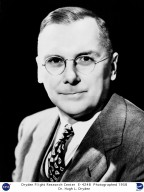 """Dr. Hugh Latimer Dryden, had many titles after his name in his lifetime. In 1949 he became the director of the National Advisory Committee for Aeronautics (NACA). Dr. Dryden received many accolades and awards both during his life and after his death, but the greatest and most appropriate honor came on March 26, 1976, when NASA renamed the NASA Flight Research Center as the NASA Hugh L. Dryden Flight Research Center. At the dedication ceremony NASA Administrator James C. Fletcher stated: """"in 1924, when the fastest racing planes did well to fly at 280 m.p.h., Dryden was already probing the transonic range of . . . flight. Later in the 1920s, he sought to develop methods of accurately measuring . . . turbulence in wind tunnels. In 1938 he was the first American to deliver the Wright Brothers lecture. His 'Turbulence and the Boundary Layer' became a classic summary on the subject. It is most fitting that this Flight Research Center, with its unique and highly specialized capability for solving aerospace problems, should memorialize the genius of Hugh Dryden."""" Dr. Dryden was initially an aerodynamicist with the National Bureau of Standards. He did important early work in high-speed aerodynamics. In 1947 he became the director of aeronautical research for the NACA (a predecessor of the National Aeronautics and Space Administration). Two years later, he became NACA?s director, a position he held until 1958 when he became deputy administrator of NASA."""