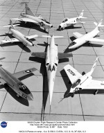 X-3 (center), and clockwise from left: X-1A, D-558-I, XF-92A, X-5, D-558-II, and X-4.