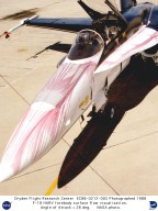 A glycol-based liquid, released through very small holes around the nose of an F/A-18 flown by NASA's Dryden Flight Research Center, Edwards, California, for its High Alpha Research Vehicle (HARV) program, aids researchers in flow visualization studies. This photograph, taken postflight, shows the airflow pattern at 26 degrees angle of attack. The program was conducted jointly with NASA's Langley Research Center.