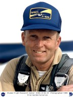 C. Gordon Fullerton is a research pilot at NASA's Dryden Flight Research Center, Edwards, California. His assignments include a variety of flight research and support activities piloting NASA's B-52 launch aircraft, the 747 Shuttle Carrier Aircraft (SCA), and other multi-engine and high performance aircraft. Fullerton, who has logged 382 hours in space flight, was a NASA astronaut from September 1969 until November 1986 when he joined the Flight Crew Branch at Dryden. In July 1988, he completed a 30-year career with the U.S. Air Force and retired as a colonel. As the project pilot on the NASA B-52 launch aircraft, Fullerton flew during the first six air launches of the commercially developed Pegasus space vehicle. He was involved in a series of development air launches of the X-38 Crew Recovery Vehicle and in the Pegasus launch of the X-43A Hyper-X advanced propulsion project. Fullerton also flies Dryden's DC-8 Airborne Science aircraft, regularly deployed worldwide to support a variety of research studies, including atmospheric physics, ground mapping and meteorology. In addition to these current activities, Fullerton has been involved in numerous other research programs at Dryden. He was the project pilot on the Propulsion Controlled Aircraft program, during which he successfully landed both a modified F-15 and an MD-11 transport with all control surfaces neutralized, using only engine thrust modulation for control. Assigned to evaluate the flying qualities of the Russian Tu-144 supersonic transport during two flights in 1998, he reached a speed of Mach 2 and became one of only two non-Russian pilots to fly that aircraft. He piloted a Convair 990 modified to test space shuttle landing gear components during many very high-speed landings. Other projects for which he has flown in the past include the C-140 JetStar Laminar Flow Control; F-111 Mission Adaptive Wing; F-14 Variable Sweep Flow Transition; Space Shuttle drag chute and F-111 crew module parachute tests wit