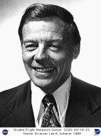 Lee R. Scherer was appointed Director of the NASA Flight Research Center on October 11, 1971, a position he held until January 28, 1975. Mr. Scherer first worked with NASA in 1962 while still on active duty with the U.S. Navy as a Captain. Prior to his arriving at the Flight Research Center he was at NASA Headquarters? Office of Space Science and Applications, as Director of the Apollo Program for the scientific aspects of lunar explorations, Assistant Director of Lunar Programs, and Manager of the Lunar Orbiter Program from its inception in 1963 through its successful completion in 1967. Scherer graduated from the U.S. Naval Academy in 1942. Most of Lee?s 25-year Naval career was spent in aviation, including a tour flying carrier-based fighters and flight test experience with helicopters. Prior to entering the Naval Academy, he attended the University of Kentucky for one year. He received a second Bachelor of Science degree in aeronautical engineering in 1949 from the U.S. Naval Postgraduate School and his Master?s degree in aeronautical engineering from the California Institute of Technology (Caltech) in 1950. Lee also attended the Summer of Industrial Management Studies program at the University of California at Los Angeles in 1949. Awards he has received include the NASA?s Exceptional Service Medal in 1967 and NASA?s Exceptional Scientific Achievement Medal in 1969.