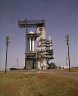 Saturn I (SA-1) in Marshall Space Flight Center Test Stand