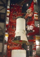 Saturn V S-IVB (Third) Stage for the Apollo 4 Mission in the Vehicle Assembly Building