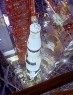 Saturn V Vehicle for the Apollo 4 Mission in the Vehicle Assembly Building