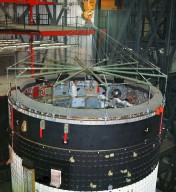 Saturn V Instrument Unit for the Apollo 4 Mission in the Vehicle Assembly Building