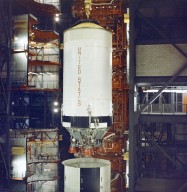 Saturn V S-II (Second) Stage for Apollo 6 in the Vehicle Assembly Building