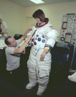 Astronaut Anna Fisher Suits Up for NBS Training
