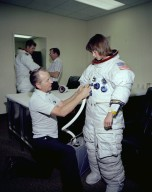 Astronaut Anna Fisher Suiting Up For NBS Training