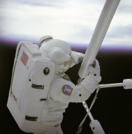 STS-61B Astronaut Spring During EASE Extravehicular Activity (EVA)