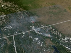 Montana and Alberta (Canada) fires - July 29, 2003