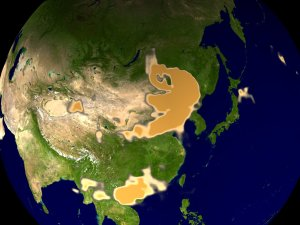 China Dust Storm seen by Earth Probe/TOMS in April of 2001