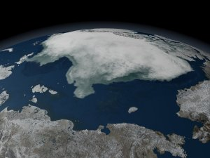Loop of AMSR-E Daily Arctic Sea Ice from Aug 2005 to Aug 2006