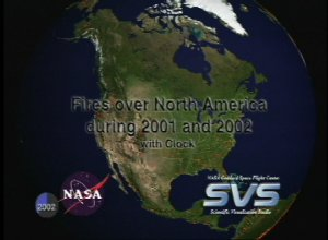 Fires over North America during 2001 and 2002 with Clock