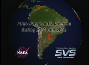 Fires over South America during 2001 and 2002