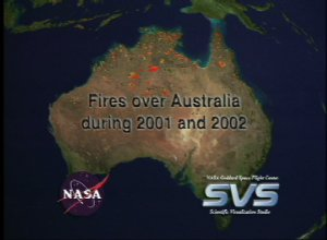 Fires over Australia during 2001 and 2002