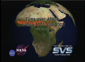 Fires over Africa during 2001 and 2002 with Clock
