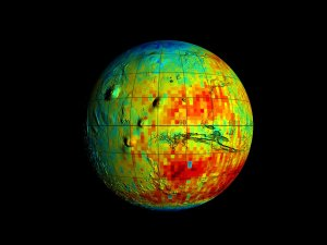 Mars Odyssey Epithermal Neutron Data overlayed on MGS/MOLA Topography Data (Full Globe, Unsmoothed)