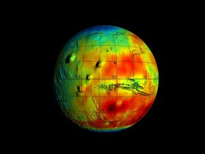 Mars Odyssey Epithermal Neutron Data overlayed on MGS/MOLA Topography Data (Full Globe, Smoothed)