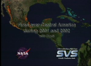 Fires over Central America during 2001 and 2002 with Clock