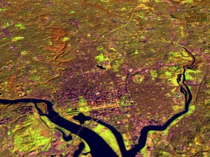 Washington D.C. and Baltimore with terrain, x 3 exaggeration.