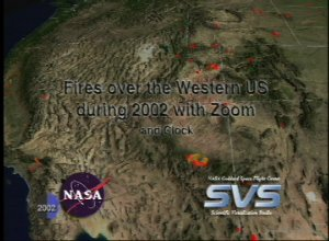Fires over the Western US during 2002 with Zoom and Clock