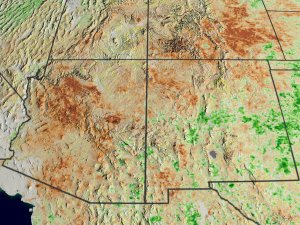 NDVI Anomalies Show Areas of Likely Drought in the Western US (Southwest view)