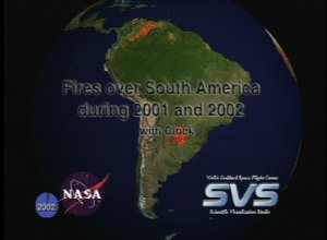 Fires over South America during 2001 and 2002 with Clock
