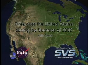 Fires over the United States during the Summer of 2002 with Clock